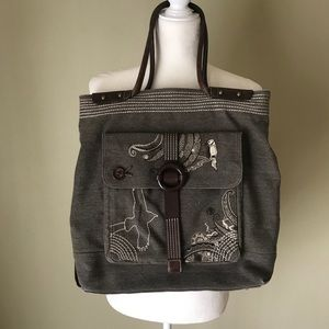 Oilily Large Embroidered Bird Tote Canvas leather
